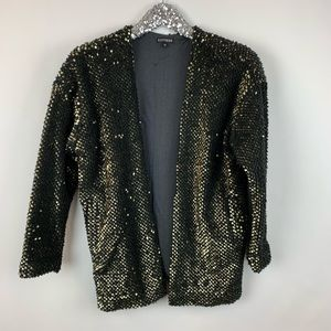 Express Gold Sequin Sweater Coat